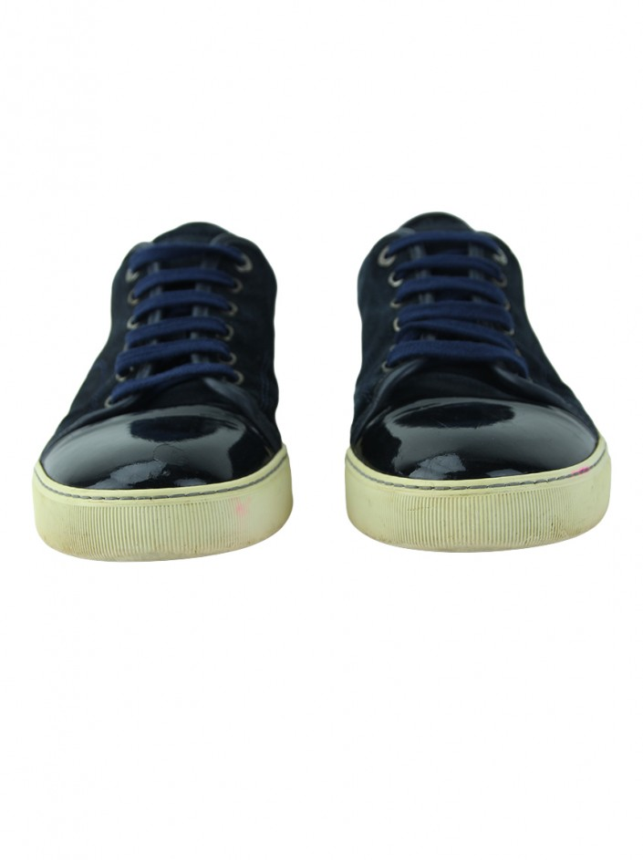 Tênis Lanvin Cap-Toe Suede and Patent-Leather Sneakers