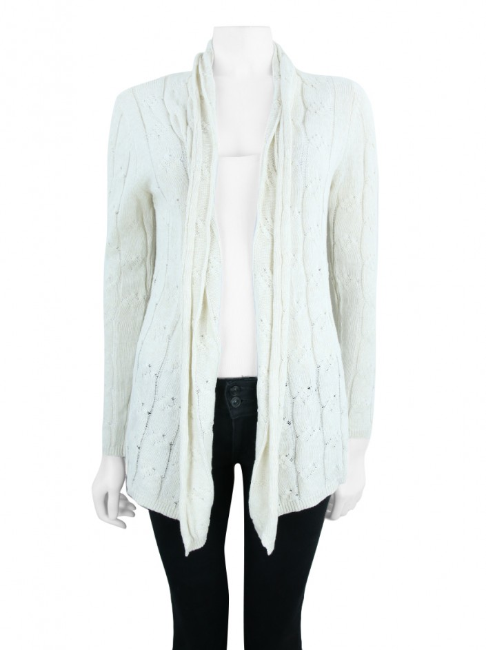 Cardigan Mixed Tricot Creme