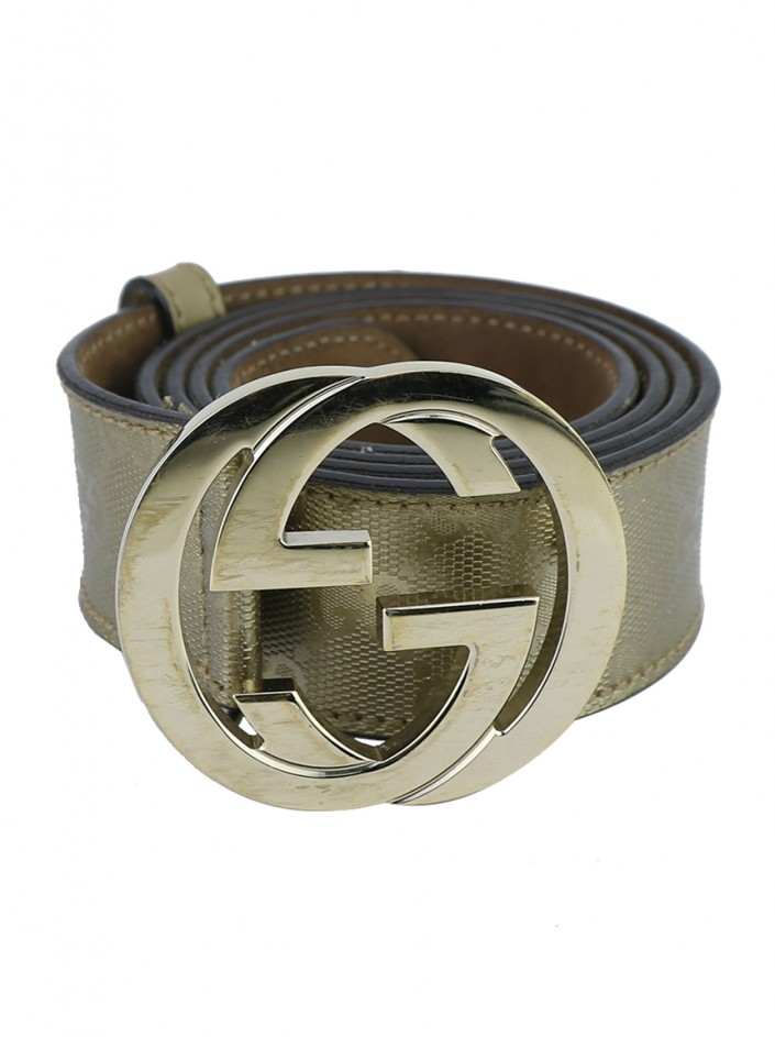 Cinto Gucci Interlocking G Dourado