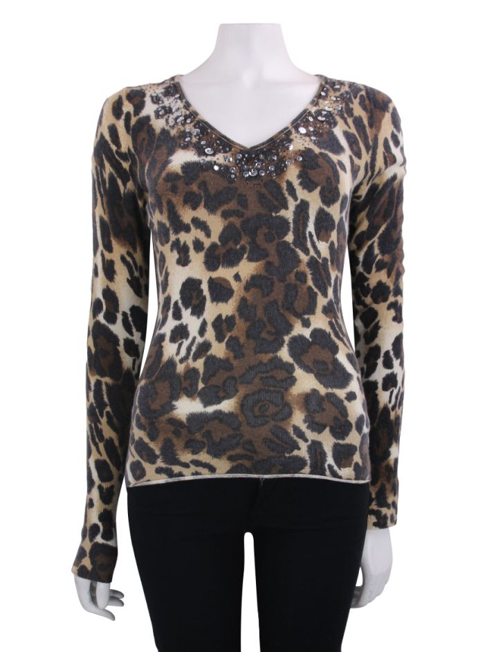 Blusa Daslu Basic Cashmere Animal Print