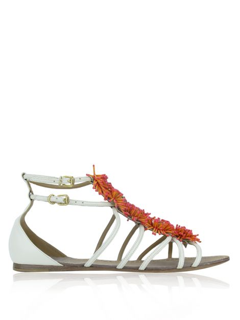 Flat Tory Burch Couro Off-White