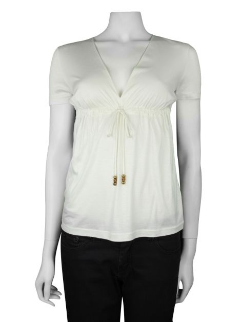 Blusa Gucci Decote V Off-White