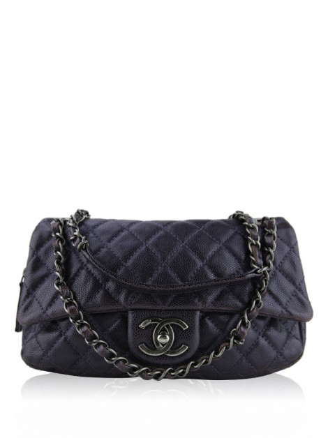 Bolsa Chanel Easy Flap Metallic Caviar Roxa
