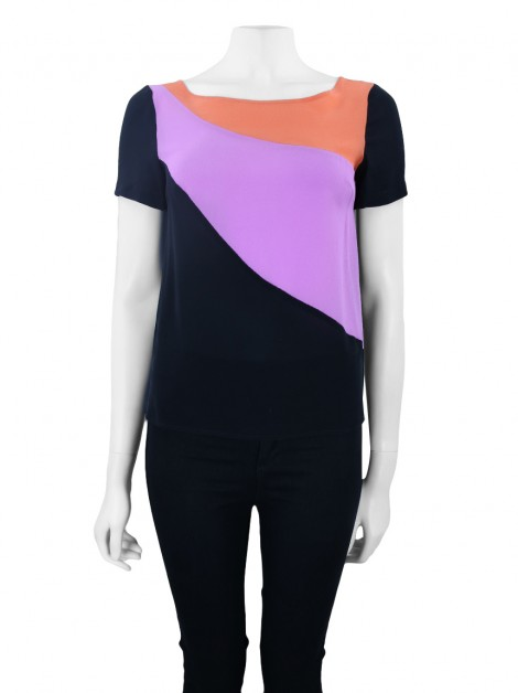 Blusa A. Brand Seda Color Block