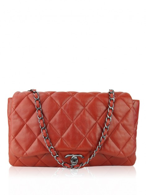 Bolsa Chanel 3 Accordion Flap Laranja