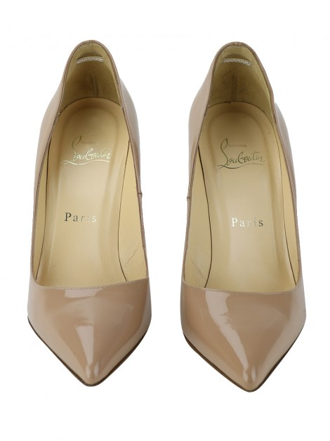 Sapato Christian Louboutin Pigalle Couro Verniz Nude 100 mm