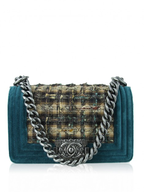 Bolsa Chanel Boy Small Tweed Veludo Verde Esmeralda