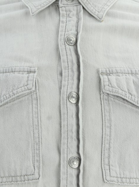 Camisa Seven For All Mankind Jeans Cinza Claro