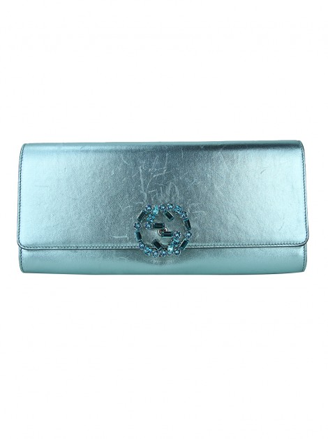Clutch Gucci Broadway Crystal GG Azul Metálico