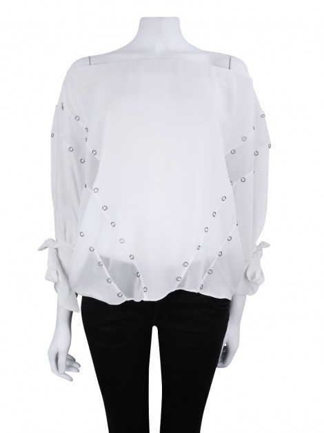 Blusa Animale Argolas Seda Off-White