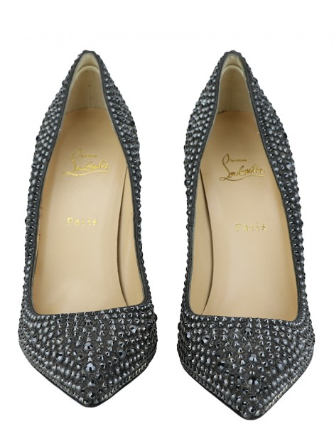 Sapato Christian Louboutin Pigalle 120 Strass Chumbo