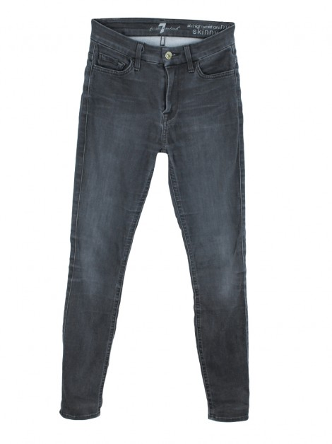 Calça Seven For All Mankind The High Waist Ankle Skinny Cinza