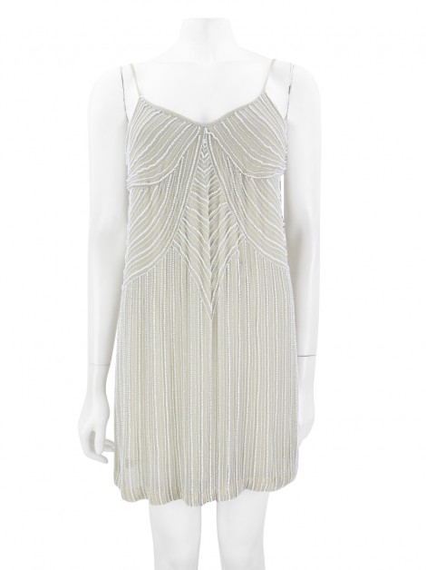 Vestido Stella Mccartney Seda Bordado Nude