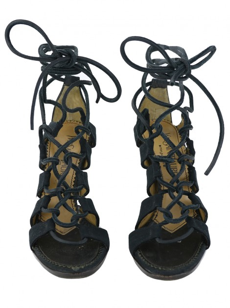 Sapato Saint Laurent Velvet Lace Up Preto