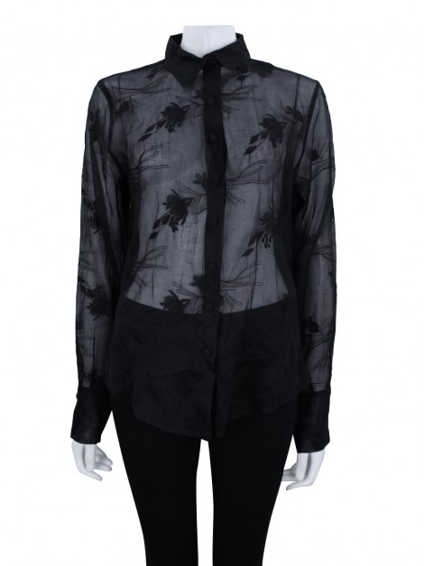 Camisa Anne Fontaine Preto Bordado