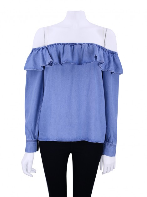 Blusa Seven For All Mankind Ruffle Hudson Sky