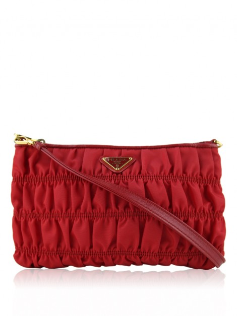 Bolsa Prada Nylon Gaufre Shoulder Bag Vermelha