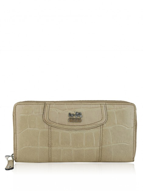 Carteira Coach Crocco Embossed Bege