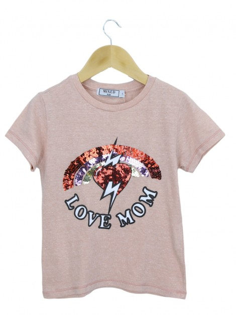 Blusa Mixed Kids Love Mom Alaranjada