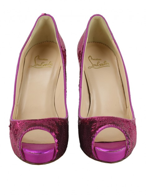 Sapato Christian Louboutin Paillettes Very Prive Rosa