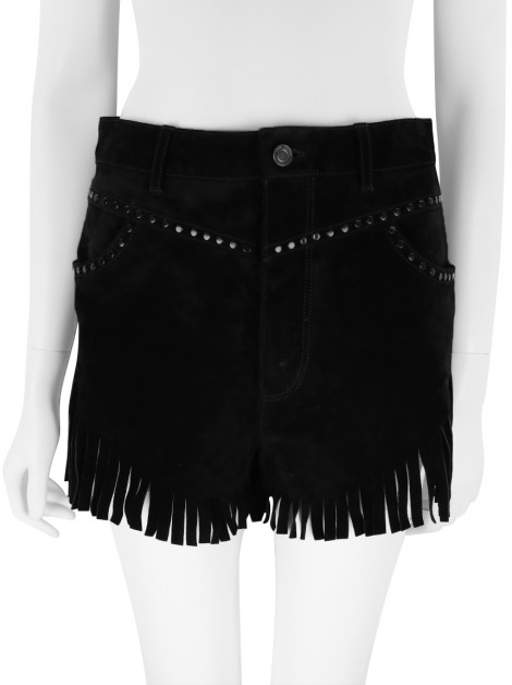 Shorts Yves Saint Laurent Fringed StudS Preto