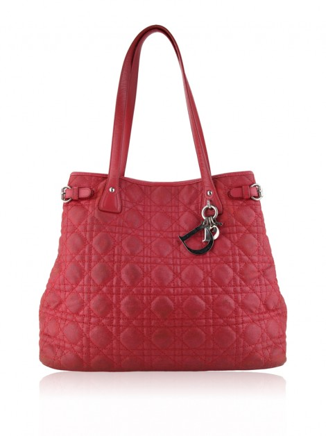 Bolsa Christian Dior Cannage Quilted Coated Rosa