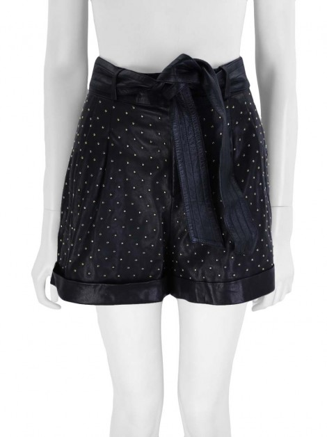 Shorts Nour Hammour Couro Studs