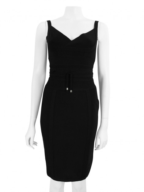Vestido House of CB London Tie Waist Bandagem Preto