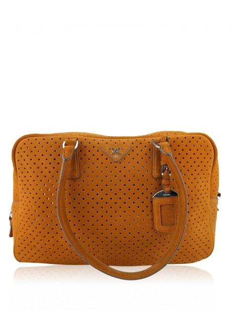Bolsa Prada Perforated Suede Laranja