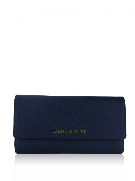 Carteira Michael Kors Jet Set Travel Checkbook Azul