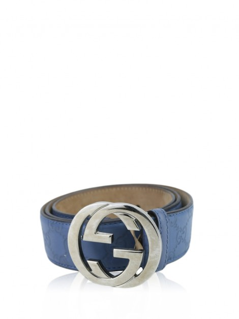 Cinto Gucci Guccissima Interlocking G Azul