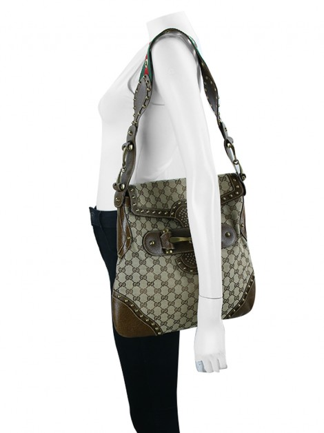 Bolsa Gucci Studded Pelham Runway GG Canvas