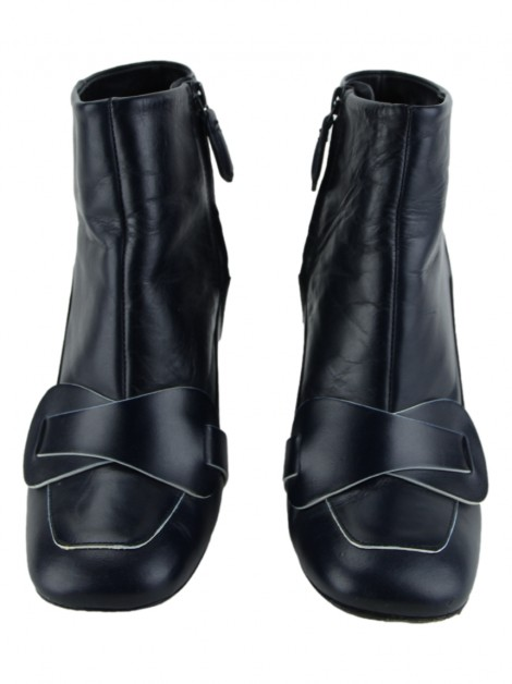 Ankle Boots Tory Burch Couro Azul