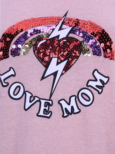Camiseta Mixed Love Mom Rosa