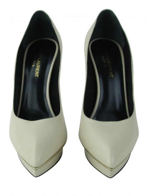 Sapato Yves Saint Laurent Janis Calfskin Bege
