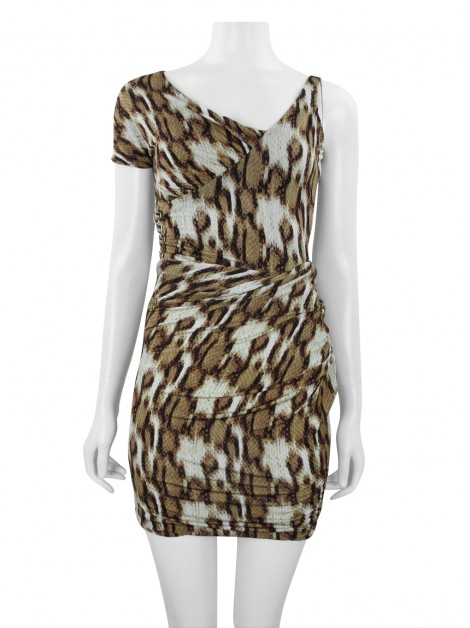Vestido Just Cavalli Animal Print Drapeado