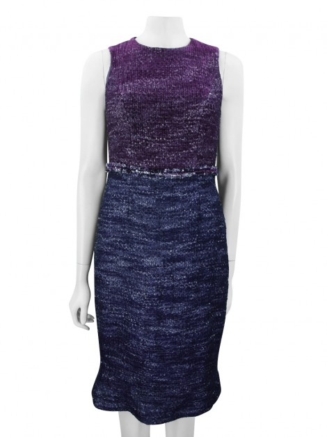 Vestido Carolina Herrera New York Tweed Bicolor