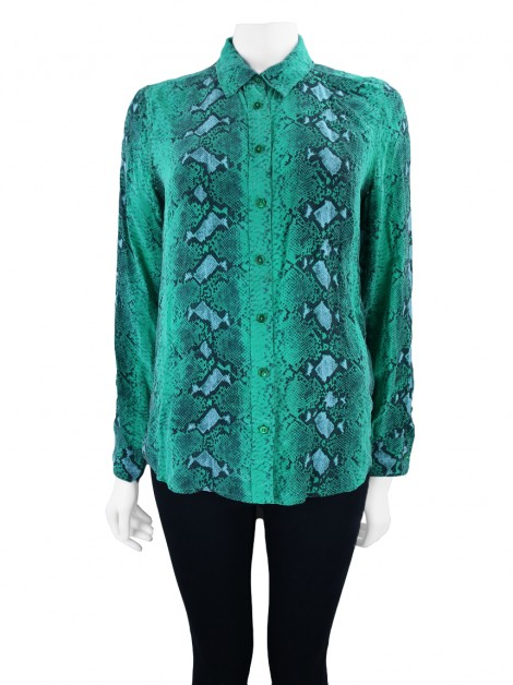 Camisa Equipment Seda Phyton Verde