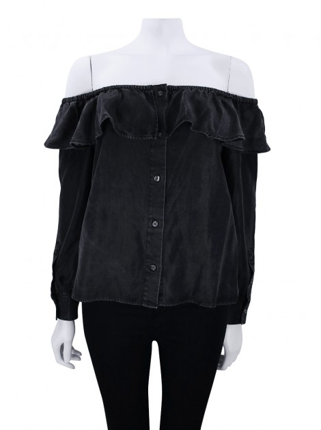 Blusa Seven For All Mankind Ruffle Cinza