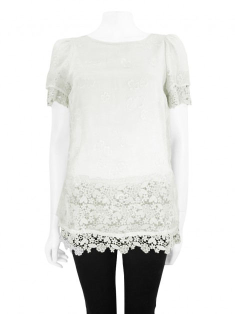 Blusa Red Valentino Seda Off White