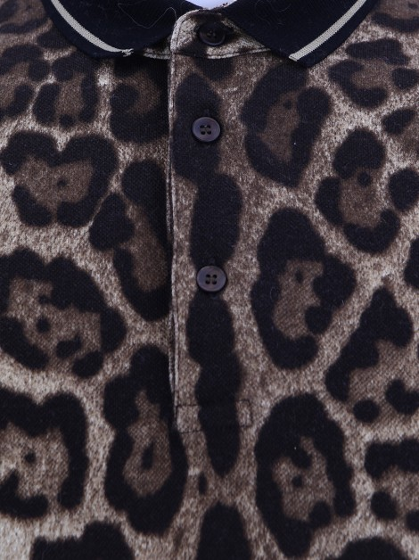 Blusa Dolce & Gabbana Polo Logo Patch Animal Print