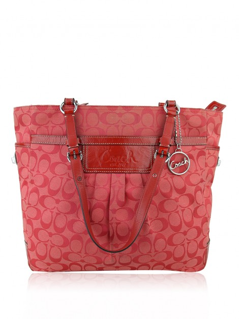 Bolsa Coach Signature Pleated Vermelha