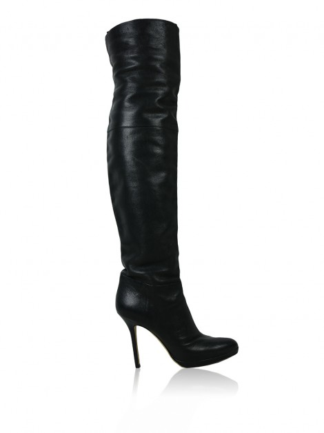 Bota Jimmy Choo Over The Knee Couro Preto