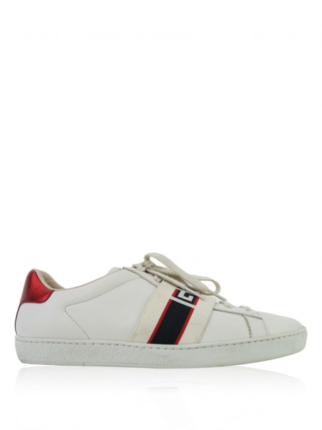 Tênis Gucci New Ace Stripe Sneakers Off White