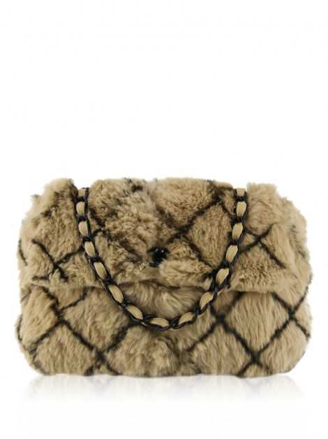 Bolsa Chanel Lapin Fur Diamond Flap Bege