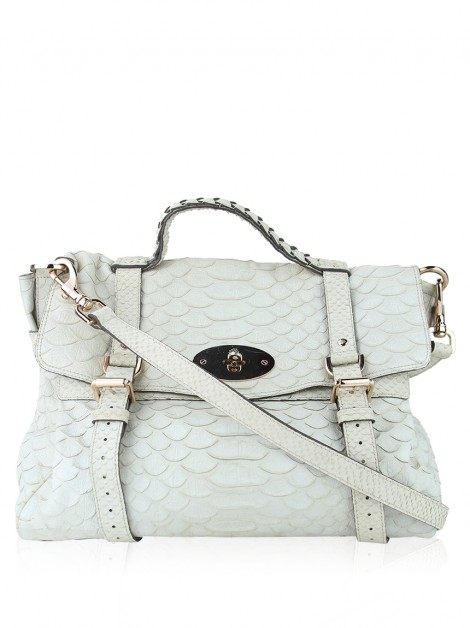 Bolsa Mulberry Alexa Oversized Large Silky Snake Print Off-White