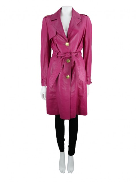 Trench Coat Versace Couro Pink