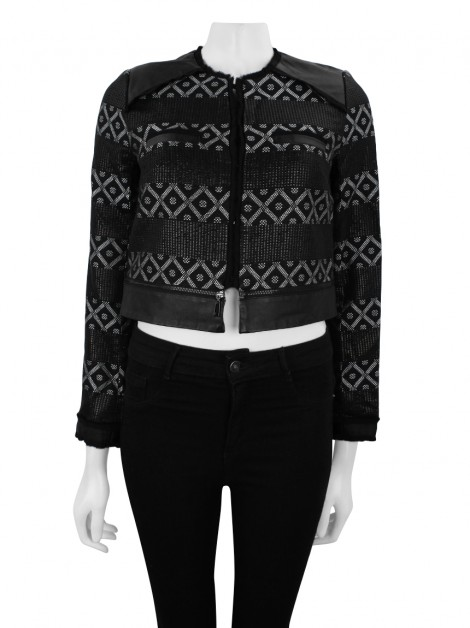 Casaco Animale Jacquard Cropped