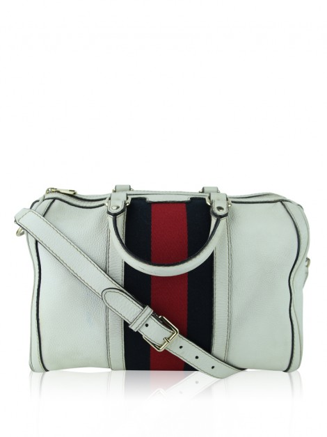 Bolsa Gucci Calfskin Vintage Web Medium Boston Off- White