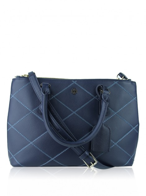 Bolsa Tory Burch Robinson Double Zip Stiched Azul Marinho